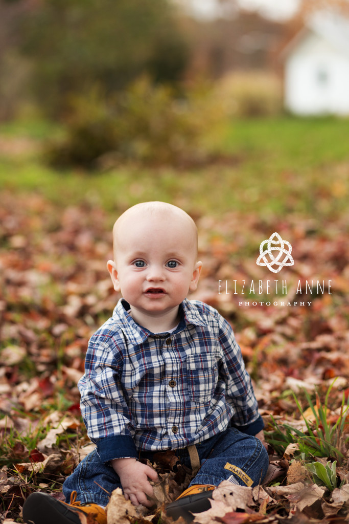 Adorable baby boy in leaves | Northern Virginia Baby Photographer
