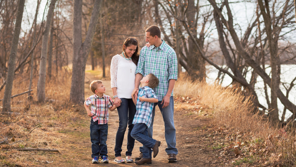 Family of 4 on walking path | Northern Virginia Family Photographer